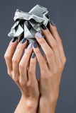 Elegancki manicure w cieniach szary żeński elegancki obrazy stock