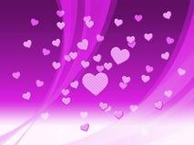 Elegancki Mauve serca tło Znaczy Delikatną pasję Lub Świetnego W ilustracji