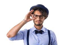 Elegancki modniś z szkłami, kapeluszem i krawatem, Fotografia Royalty Free