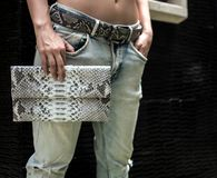 Elegancki modny model w trzymać sprzęgłową torbę Seksowny model z doskonalić ciałem blisko willi, będący ubranym cajg, trzyma kie obraz stock