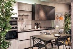 Elegancki nowożytny dostosowywający kuchenny i łomota teren zdjęcie stock