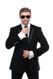 Elegancki ochroniarz z okularami przeciwsłonecznymi zdjęcia royalty free