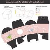 Elegancki prezenta pudełko w conical kształcie z ręka rysującą wiosną kwitnie Obraz Stock