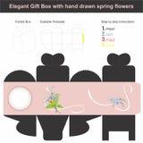 Elegancki prezenta pudełko w sześcianu kształcie z ręka rysującą wiosną kwitnie Zdjęcia Royalty Free