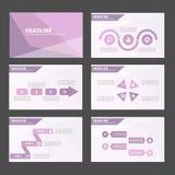 Elegancki Purpurowy Błękitny infographic element i ikony prezentaci szablonów płaski projekt ustawiamy dla broszurki ulotki ulotk Obraz Stock