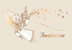 Elegancki różany złocisty dekoracyjny dziewczyna anioł ilustracja wektor