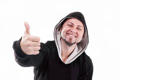 Elegancki rapera facet pokazuje kciuk up Odizolowywaj?cy na bielu fotografia royalty free