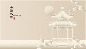 Elegancki retro Chińskiego stylu tła szablonu wsi krajobraz architektura pawilonu budynek i śliwkowy okwitnięcie kwitniemy przy ilustracji