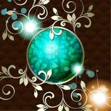 Elegancki rocznika rokoko emblemat w ciemnozielonym Fotografia Stock