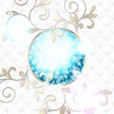 Elegancki rokoko emblemat w wibrującym błękit na biel Zdjęcia Stock