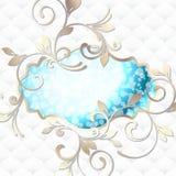 Elegancki rokoko emblemat w wibrującym błękit na biel Obrazy Stock