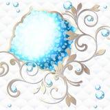 Elegancki rokoko emblemat w wibrującym błękit na biel Zdjęcie Stock