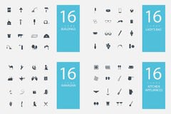 Elegancki set 4 ikony i tematy Zdjęcie Royalty Free