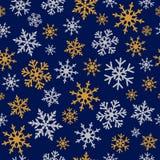 Elegancki srebny i złocisty płatek śniegu marynarki wojennej błękita bezszwowy wzór ilustracja wektor