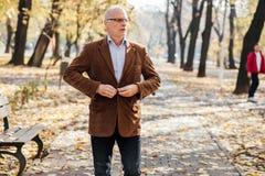 Elegancki starych człowieków chodzić Obrazy Stock