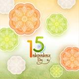 Elegancki tekst 15th Sierpień, Indpendence dzień na mandala kwiecistym deco Zdjęcie Royalty Free