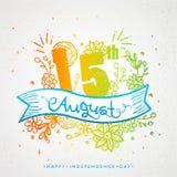 Elegancki tekst 15th Sierpień na kolorowym kwiecistym dekorującym tle Zdjęcia Royalty Free