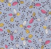 Elegancki wektorowy bezszwowy kwiecisty wiosna wzór z gałąź i liśćmi tło dekoracyjny ilustracja wektor