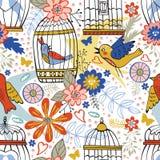Elegancki wzór z kwiatami, ptasimi klatkami i ptakami, Obrazy Stock