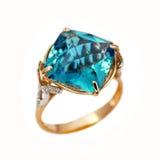 Elegancki złocisty biżuteria pierścionek Zdjęcie Royalty Free