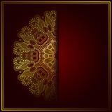 Elegancki złocisty kreskowej sztuki ornamentacyjny koronkowy okrąg Obrazy Royalty Free