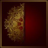 Elegancki złocisty kreskowej sztuki ornamentacyjny koronkowy okrąg Zdjęcia Stock