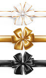 Elegancki złoty, biały i czarny tasiemkowy łęk, Zdjęcie Stock