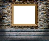 Elegancki złoty ramowy wnętrze Obrazy Royalty Free