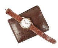 Elegancki zegarek i portfel Obrazy Stock