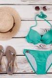 Eleganckich kobiet bikini turkusowy set Obraz Royalty Free