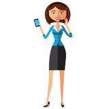 Eleganckie amerykanin afrykańskiego pochodzenia kobiety na telefonie wektor Zdjęcia Stock