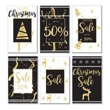 Eleganckie Bożenarodzeniowe sprzedaży karty, tło set/ Obrazy Stock