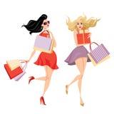 Eleganckie dziewczyny z torba na zakupy ilustracja wektor