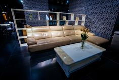 Eleganckie i luksusowe rzemienne kanapy Zdjęcia Royalty Free
