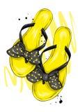 Eleganckie lata trzepnięcia klapy z pięknym łękiem Mody obuwie Elegancki odziewa Wektorowa ilustracja dla kartka z pozdrowieniami royalty ilustracja