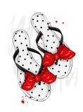 Eleganckie lata trzepnięcia klapy z pięknym łękiem Mody obuwie Elegancki odziewa Wektorowa ilustracja dla kartka z pozdrowieniami ilustracji