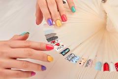 Eleganckie manicure'u i gwóźdź sztuki próbki Zdjęcie Stock