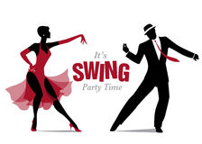 Eleganckie par sylwetki tanczy huśtawkę Fotografia Royalty Free