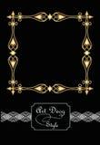 Eleganckie starożytnicze złote kwadratowe ramy w art deco projektują, 3d złudzenie w filigree kruszcowym ornamencie Obrazy Stock