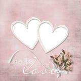 eleganckiego ramowego serca różany rocznik Fotografia Royalty Free