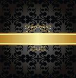 Eleganckiego węgla drzewnego bezszwowy wzór z złocistym sztandarem Obrazy Royalty Free