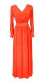 Eleganckiej kobiety czerwieni długa suknia odizolowywająca na bielu Wieczór suknia Fotografia Stock