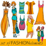 eleganckiej mody obrazkowi modele ustawiający Obrazy Stock
