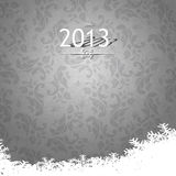 Elegant 2013 Happy Holidays during winter card. Elegant Happy 2013 winter holidays card on grey floral vintage background Royalty Free Stock Photography
