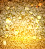 Elegant abstract background with gold bokeh. Defocused lights vector stock illustration