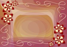 Elegant abstract background with metallic red flower and transparent ribbon Stock Images