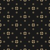 Elegant abstract golden ornament in oriental style. Subtle ornamental texture. Vector gold and black background. Abstract geometric floral seamless pattern Stock Image