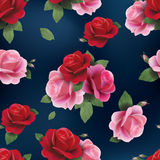 Elegant abstract seamless floral pattern with red and pink roses royalty free illustration