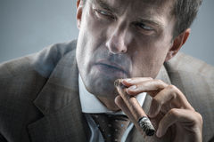 Elegant adult man smoking a cigar Stock Photos