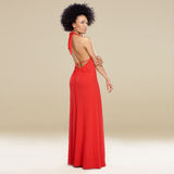 Elegant African American Woman In A Red Gown Royalty Free Stock Image